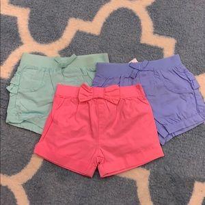NWOT bundle of girls 0-3 month shorts